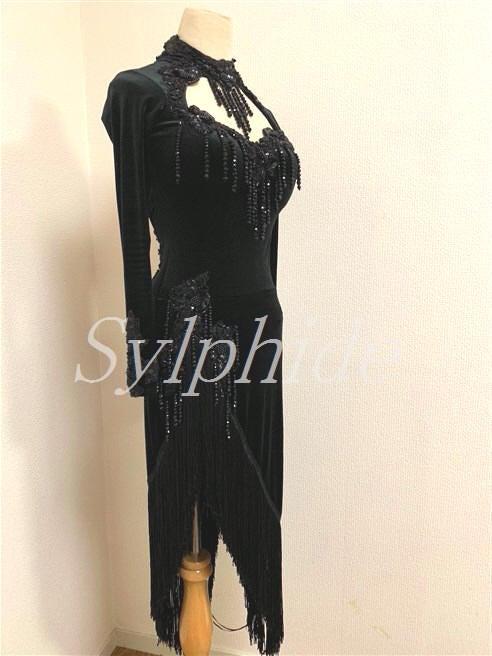 ac7d0b4bc09b8  掲載依頼・試着可 ドイツ・スージー選手着用・ラテン L-520・気品のある美しい黒ベロア