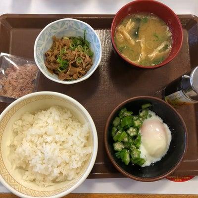 1人すき家朝飯(*^▽^*)の記事に添付されている画像