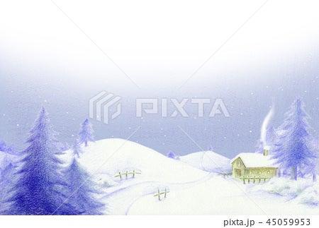 冬の風景のイラスト 手描き色鉛筆画イラスト