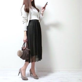 透け感と大人っぽさがお気に入りのチュールプリーツスカート♡