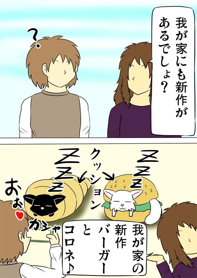 女性に紹介されたハンバーガー型のクッションに挟まれる白い子猫とコロネ型クッションの中で寛ぐ黒い子猫を黄緑色のスマホで写真撮影する男性