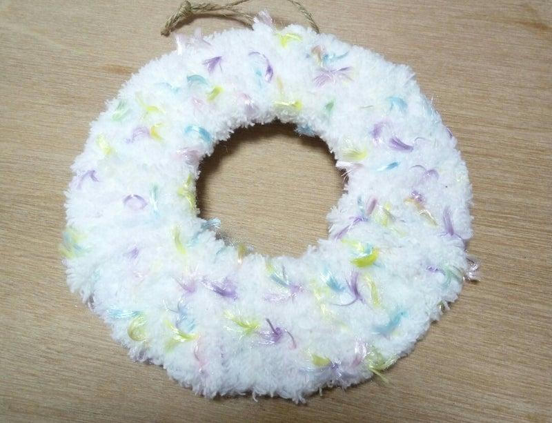 クリスマスリース毛糸シャギーホワイト