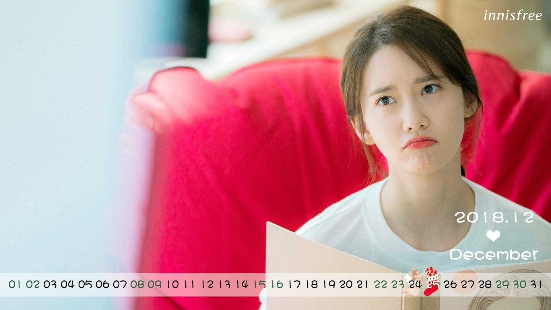 181130 少女時代 ユナ Innisfree 2018年12月カレンダー 高画質画像