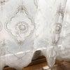 素敵な刺繍スカラップ ホワイトレースカーテン◆繊細なお花柄の画像