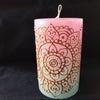 曼荼羅キャンドルと糸かけアートの画像