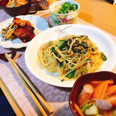 春菊とツナのパスタでたっぷり野菜の夜ごはんの記事に添付されている画像