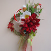 完全な美しさ&華麗♪新年をお祝いするお正月飾り 紅白のお花と水引きでの画像
