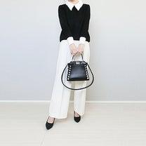 大人可愛い白襟ニットできれいめモノトーンコーデ!の記事に添付されている画像