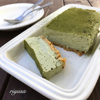 【バターも生クリームも不要】抹茶のベイクドチーズケーキ
