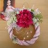 ピンクのしめ縄リースは、キラキラ、和モダンテイストでの画像