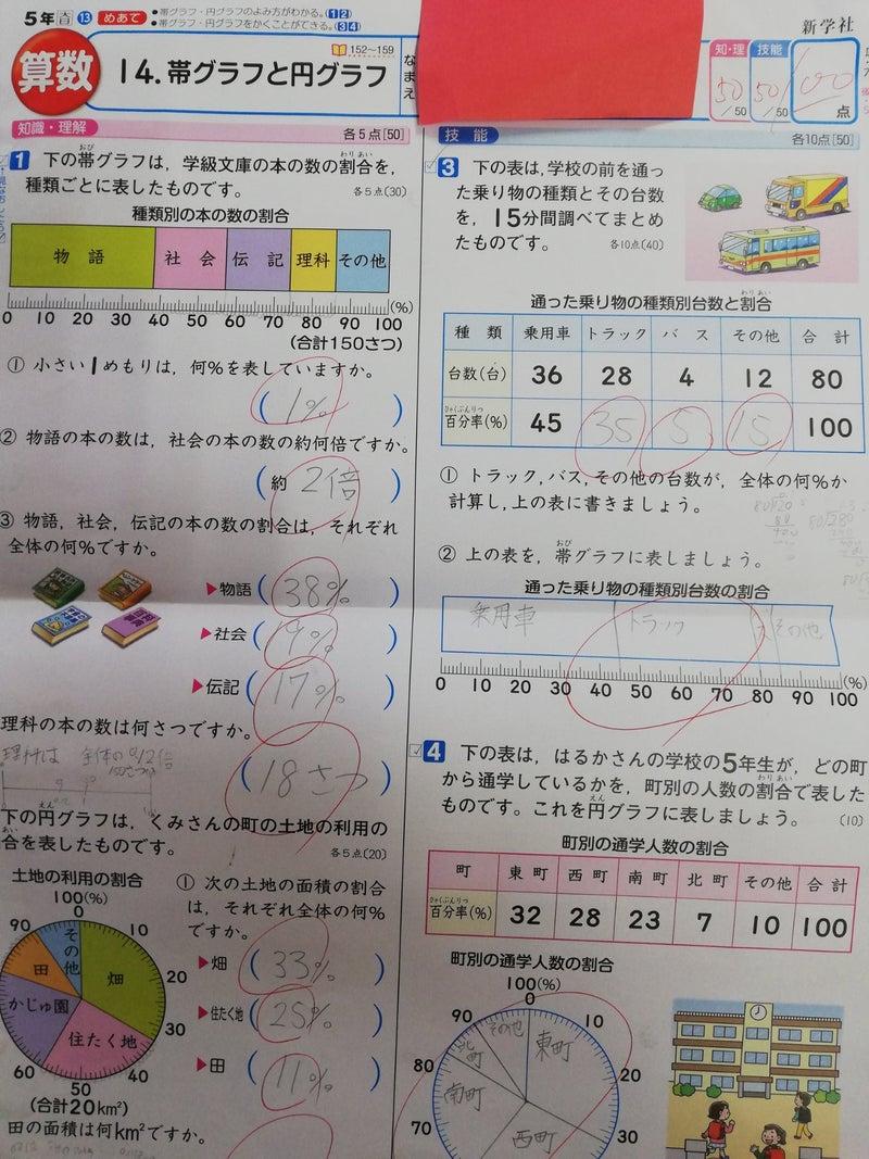 小5算数 帯グラフと円グラフ 100点 勉強が好きになる学習塾