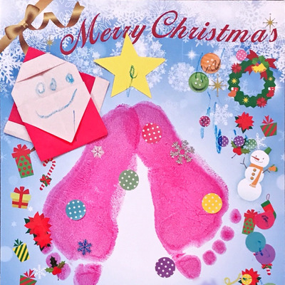【手形足形クリスマスアート】サンタさん上手に描けたね〆(._.)の記事に添付されている画像