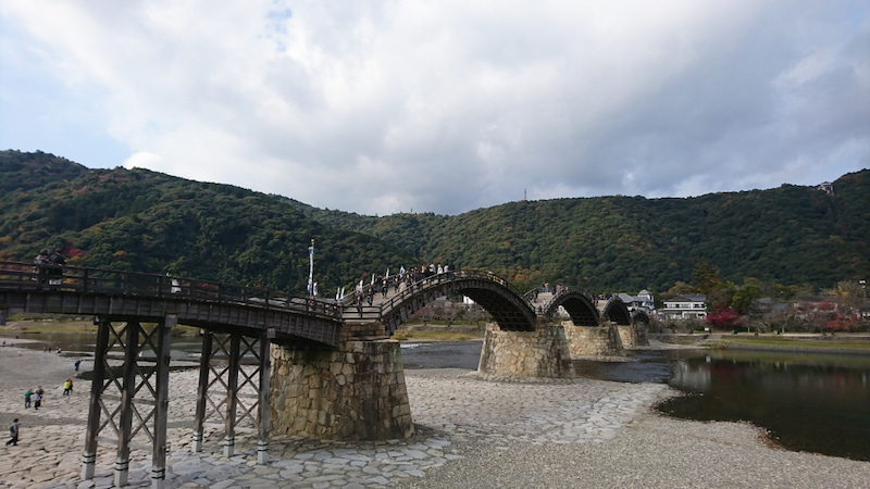 錦 帯 橋 バイク