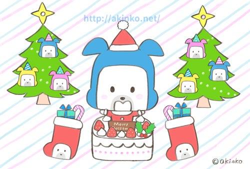 クリスマスのイラストクリスマス準備中 犬のキャラクターhappy