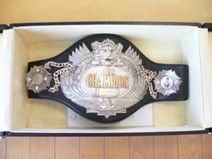 化粧箱に収まった黒革にシルバーメタルのチャンピオンベルト