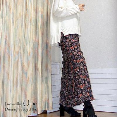 ローゲージニット×薄手マキシスカートコーデ♪の記事に添付されている画像