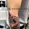 フクロウのタトゥー:腕の画像