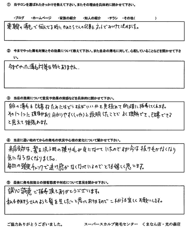 熊本AGA治療アンケート