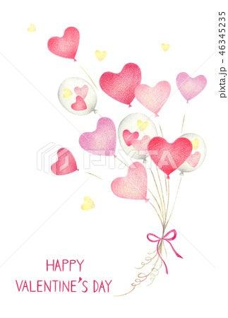 バレンタインのハートの風船のイラスト 手描き色鉛筆画イラスト
