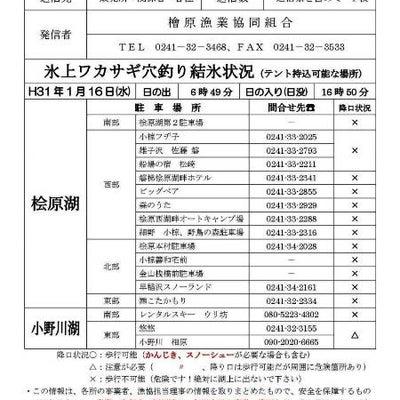 桧原湖・小野川湖 結氷状況!!の記事に添付されている画像