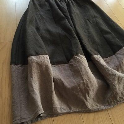 リネンのバイカラーバルーンスカート☆ハンドメイドの記事に添付されている画像