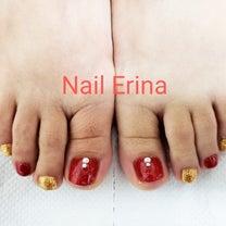 赤ラメ&ゴールドラメワンカラーフットジェルネイル☆の記事に添付されている画像