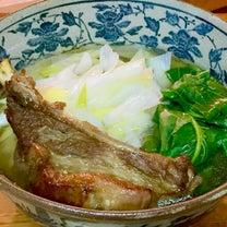 スペアリブ・ラーメン*掘り立て葱と大根菜トッピング*秩父小鹿野の記事に添付されている画像
