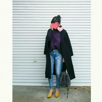 今日のコーデ★紫ニットに薄色デニムコーデの記事に添付されている画像