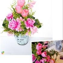 チューリップとスイトピーの春のアレンジメント~フラワーアレンジメント体験レッスンの記事に添付されている画像