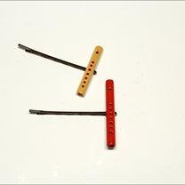 ミニチュア笛 髪留め 髪飾り 極小ミニ笛4㎝ K37 2個セット手作り ハンドメの記事に添付されている画像