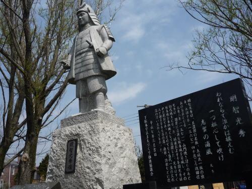 滋賀県近江坂本城・明智光秀石像