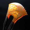 白べっ甲飛鶴麻の葉彫りかんざし2019|留袖、訪問着、結婚式など慶事にお勧め|簪の挿す位置と向きの画像