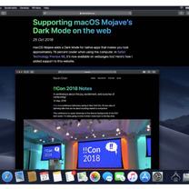 「macOS10.14.4」、「Safari」でWebサイトのダークテーマへの自の記事に添付されている画像
