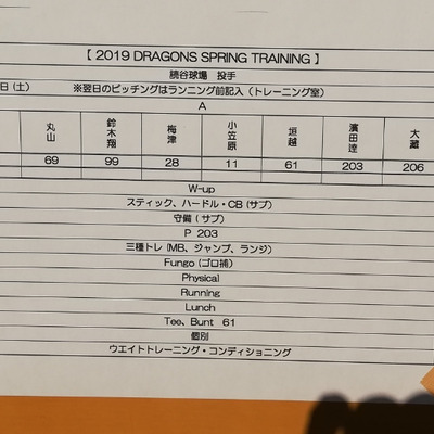 ドラゴンズ二軍キャンプ in読谷の記事に添付されている画像