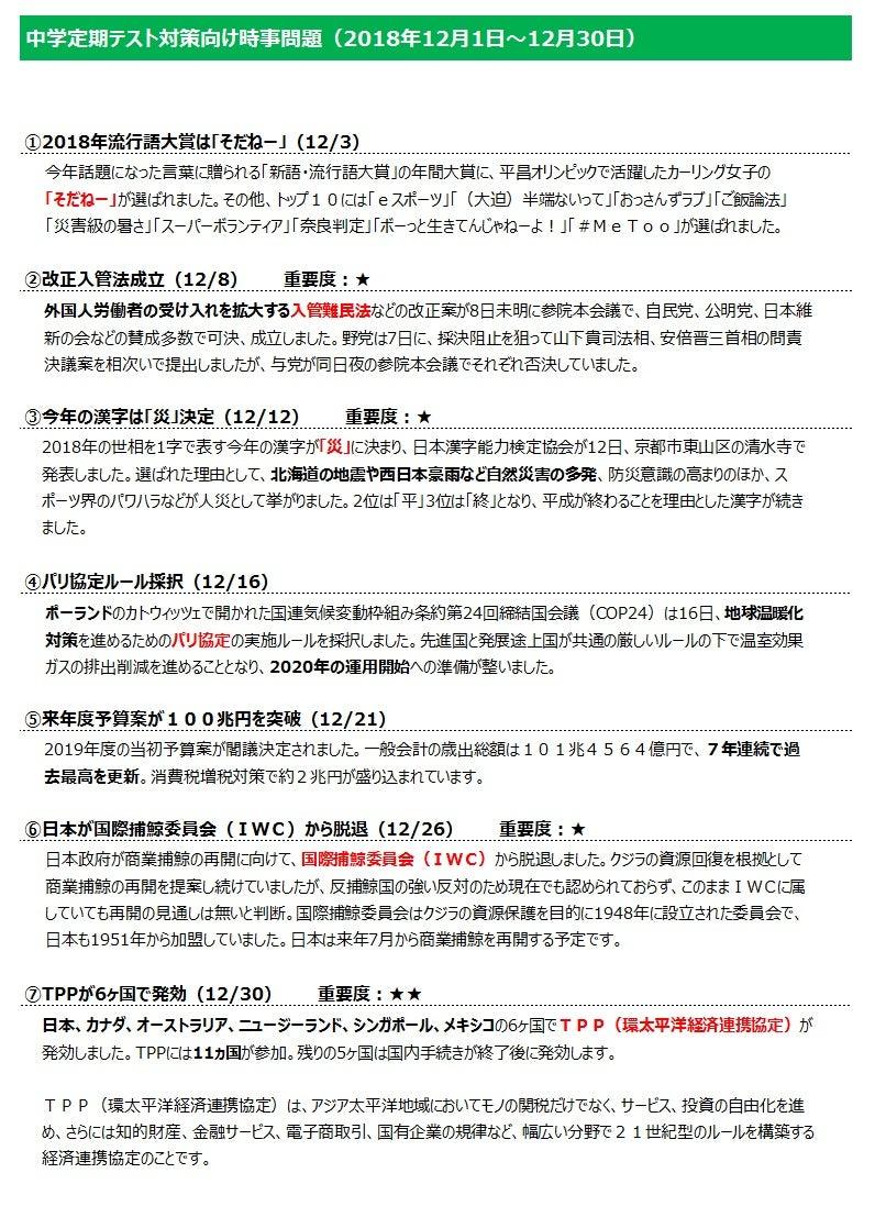 2019 時事 最新 問題 中学生