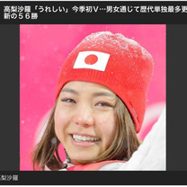 W杯スキージャンプ 女子個人戦 高梨沙羅選手優勝の記事に添付されている画像