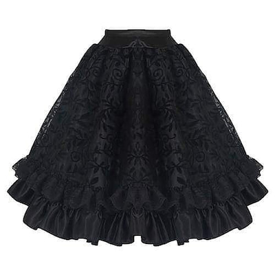 フリルスカート ブラック 黒色 膝丈 ゴム サテン ゴスロリ かわいい 安い バの記事に添付されている画像