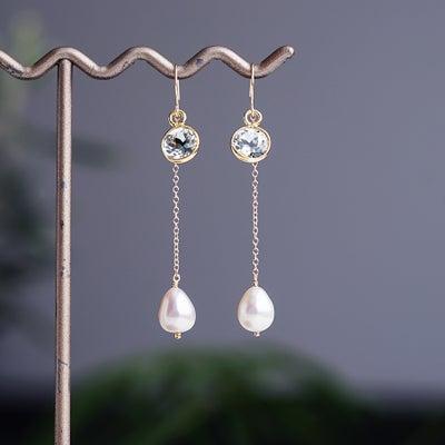 K18グリーンアメジストとドロップ真珠のピアス ~Emaの記事に添付されている画像