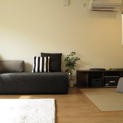 リビングを広めに見せるためにチョイスしたソファ!家具を低いもので揃える提案をご紹の記事に添付されている画像