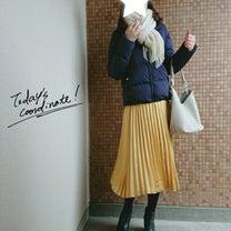ママコーデ*まだ寒い日のGUダウンとサテンプリーツスカートコーデ♥の記事に添付されている画像