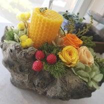 honey combキャンドルアレンジの記事に添付されている画像