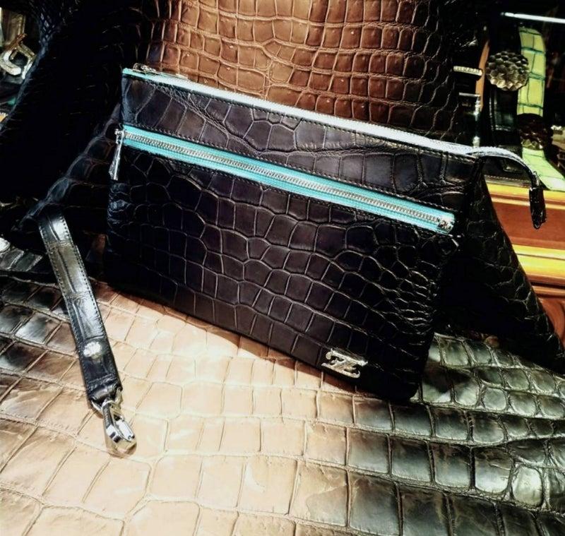 15fd6a723082 ポロサスクロコダイル Zip ハンドルバック』 | 本革クロコダイルオーダー ...