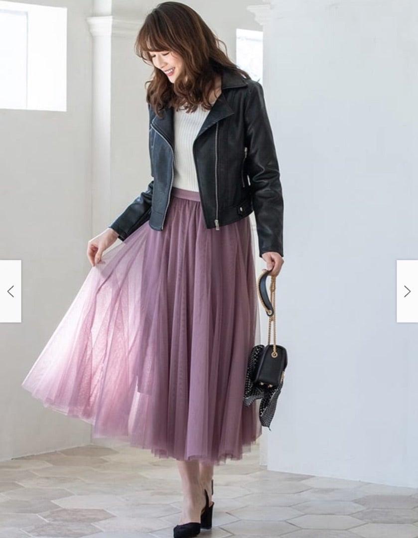 20代前半くらいに流行っていたチュールスカートがまた復活しだしてアラサーにも着れそうなものが出ているので嬉しい