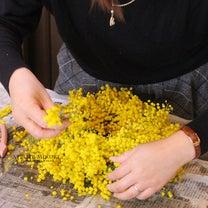 ■黄金色が目に眩しい ふわふわ「ミモザリース」Lesson☆の記事に添付されている画像