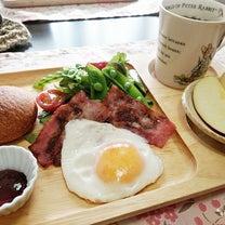 スナップエンドウがあるだけで春らしい^^ ワンプレート朝ごはん と 麻糸で。の記事に添付されている画像