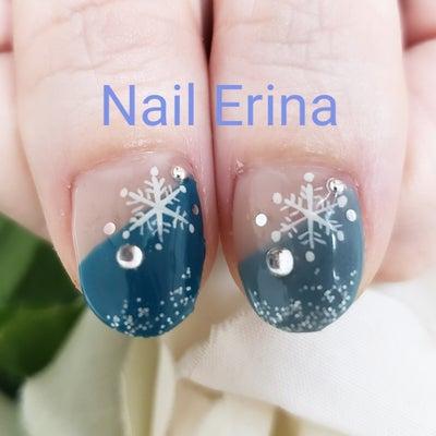 雪の結晶アート&ななめフレンチジェルネイル☆の記事に添付されている画像