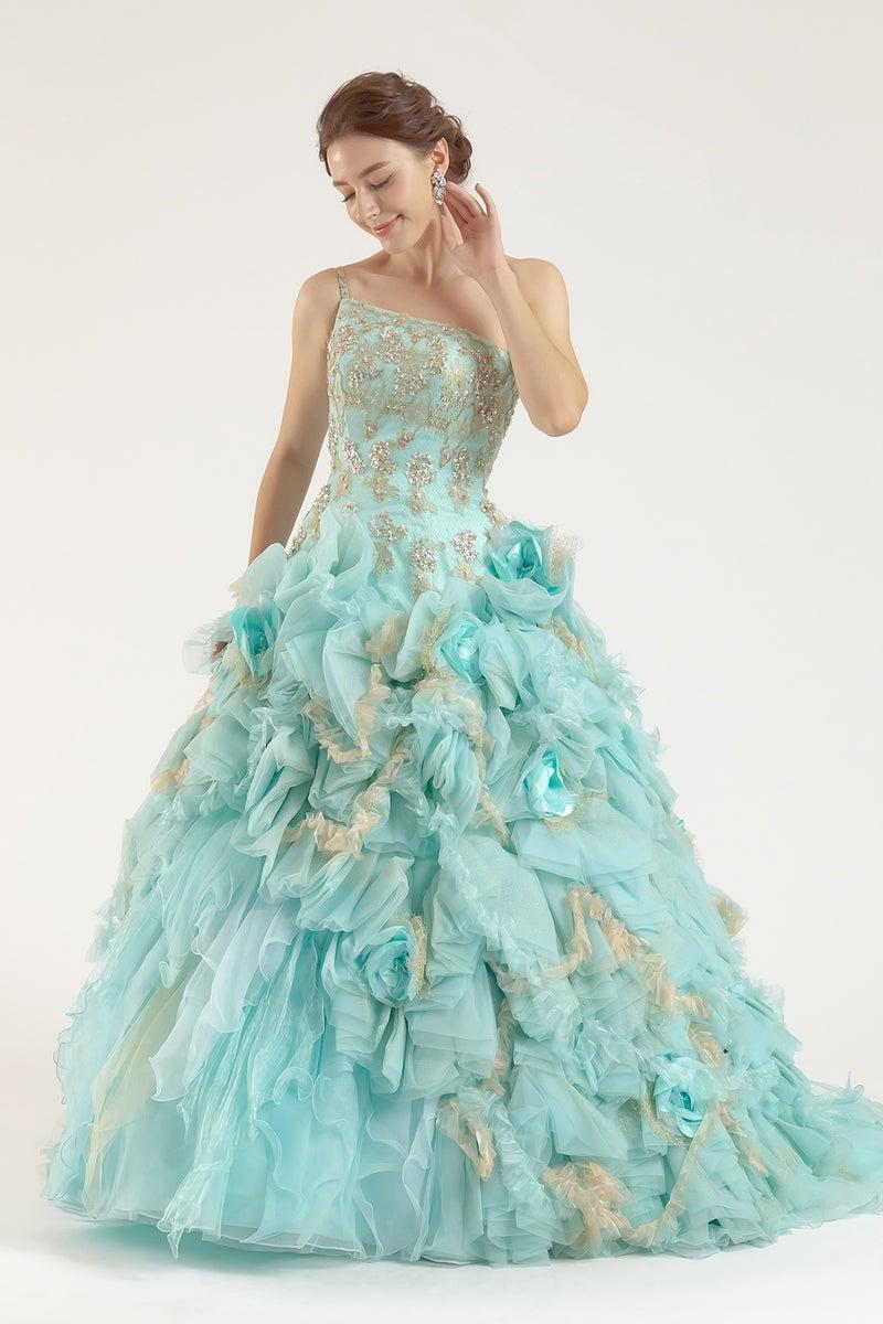 234a6ba003b52 カラードレス さわやかなライトブルー×ゴールドドレス