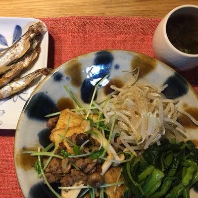 2019/3/6の夜ごはんは、挽肉と厚揚げ、豆苗の和風炒めの記事に添付されている画像