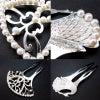銀製アコヤパール付きフォーマルかんざし2種 アールデコ調と孔雀。披露宴、パーティーなどにお勧め。の画像