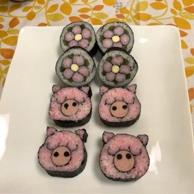 できたー!お花&ブタさんの巻き寿司レッスンでした♪の記事に添付されている画像